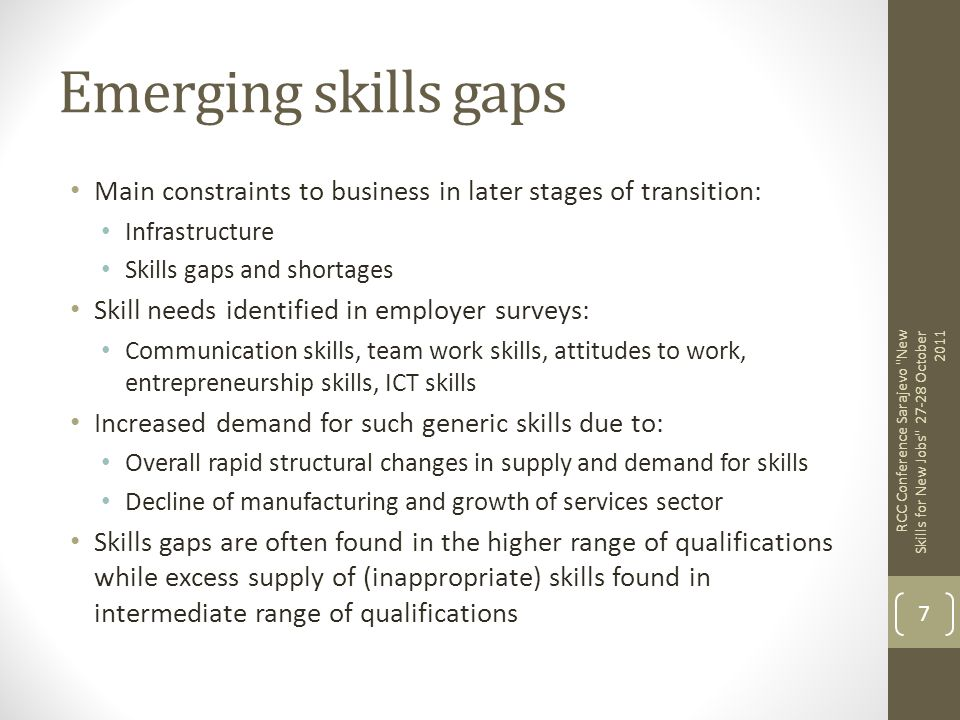 Emerging skills gaps Main constraints to business in later stages of transition: Infrastructure. Skills gaps and shortages.
