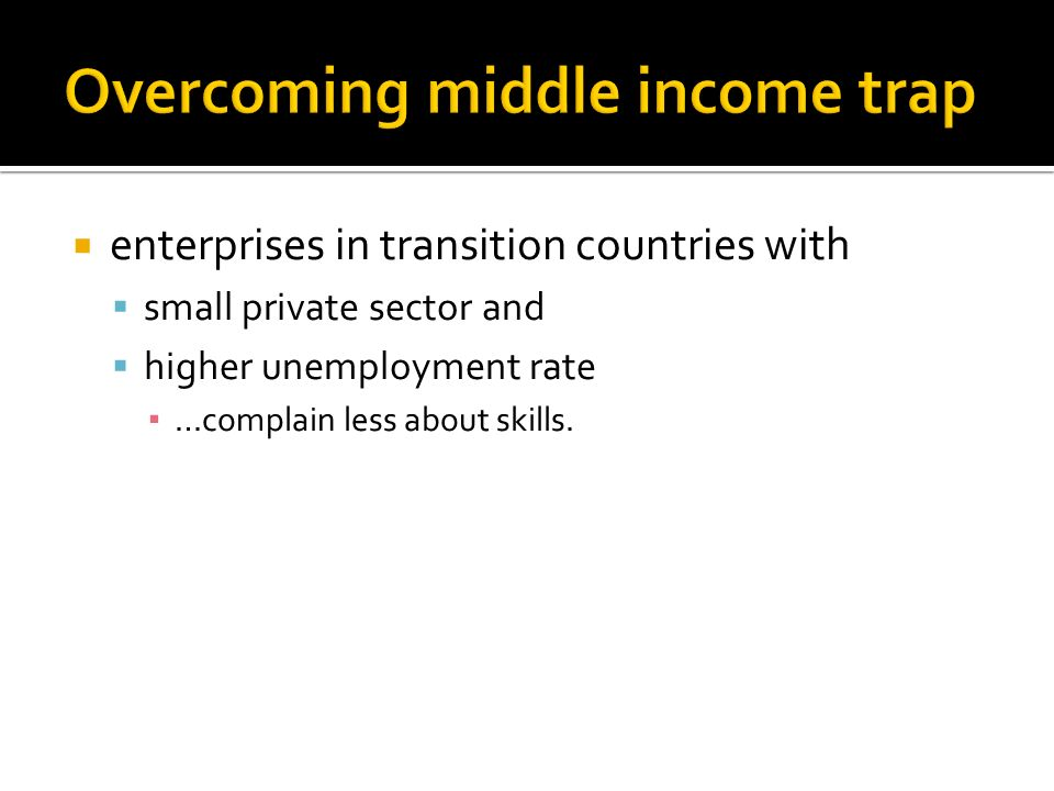 Overcoming middle income trap