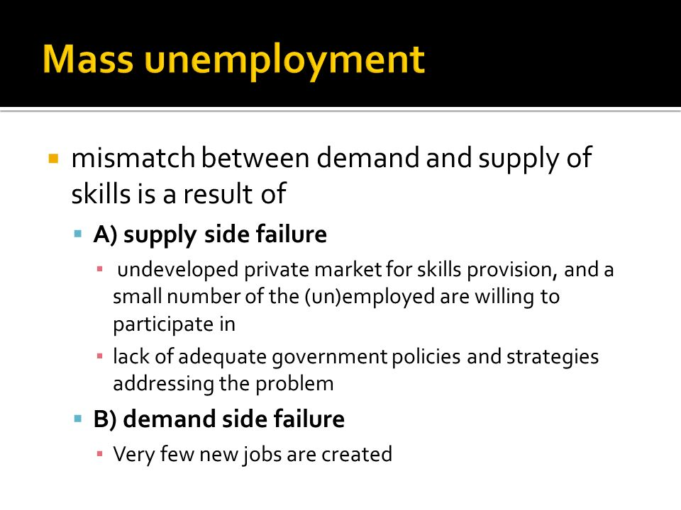 Mass unemployment mismatch between demand and supply of skills is a result of. A) supply side failure.