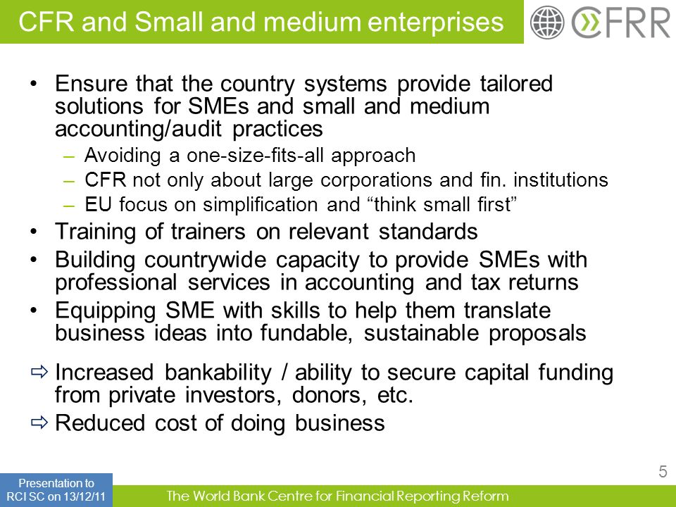 CFR and Small and medium enterprises
