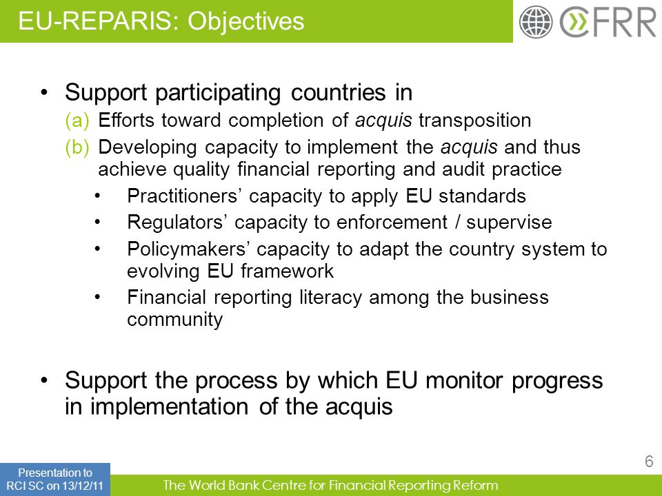 EU-REPARIS: Objectives