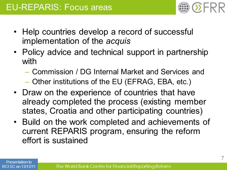 EU-REPARIS: Focus areas