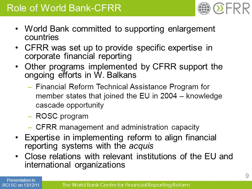 Role of World Bank-CFRR