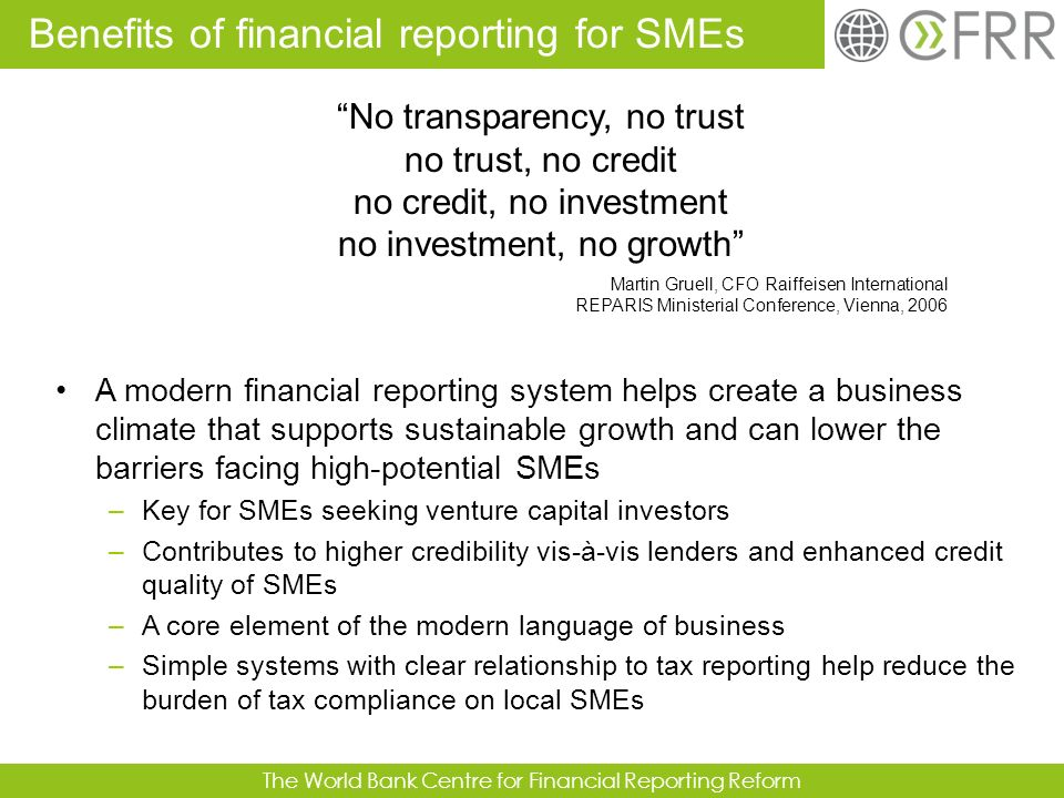 Benefits of financial reporting for SMEs