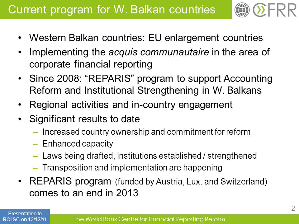 Current program for W. Balkan countries