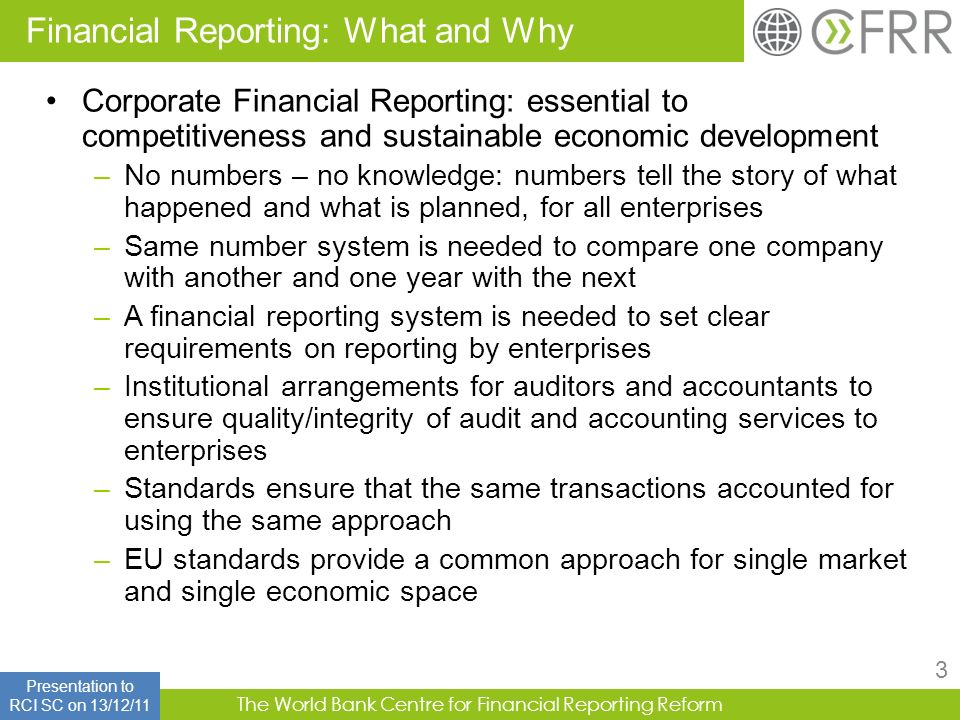Financial Reporting: What and Why