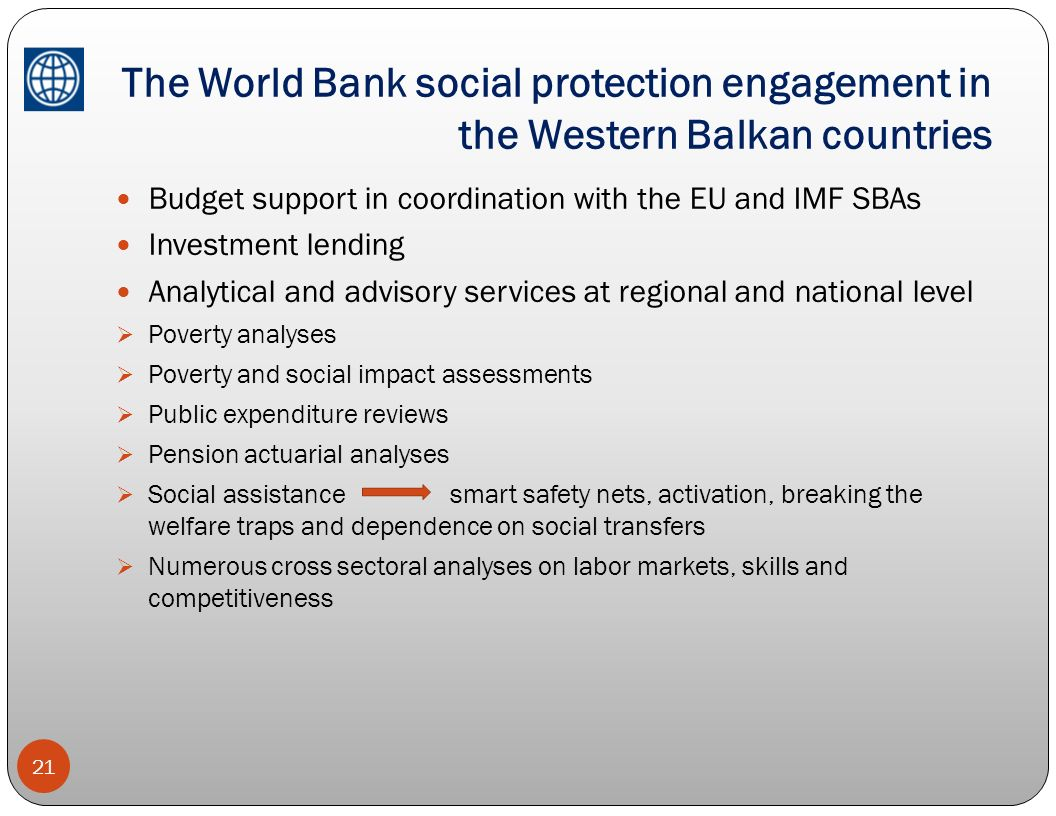 The World Bank social protection engagement in the Western Balkan countries