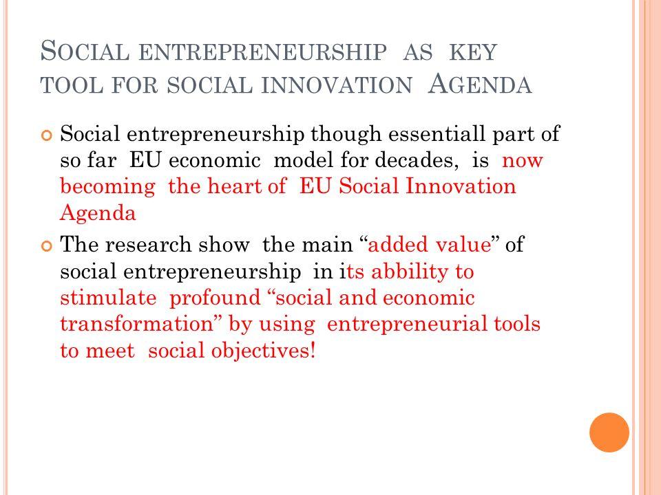 Social entrepreneurship as key tool for social innovation Agenda