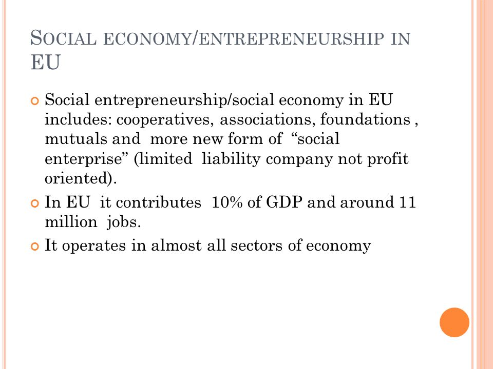 Social economy/entrepreneurship in EU