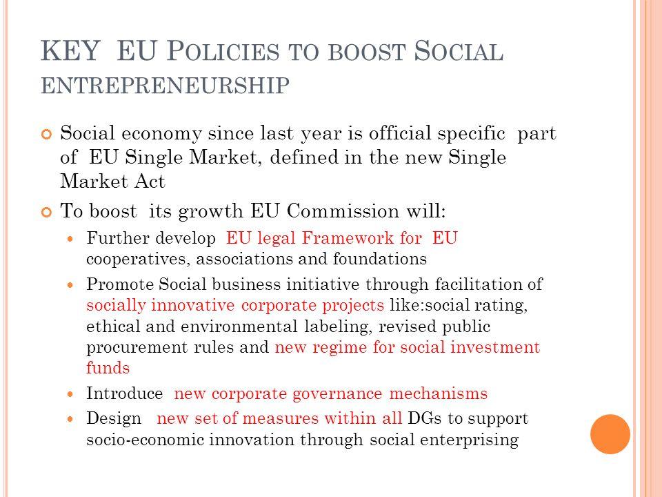 KEY EU Policies to boost Social entrepreneurship