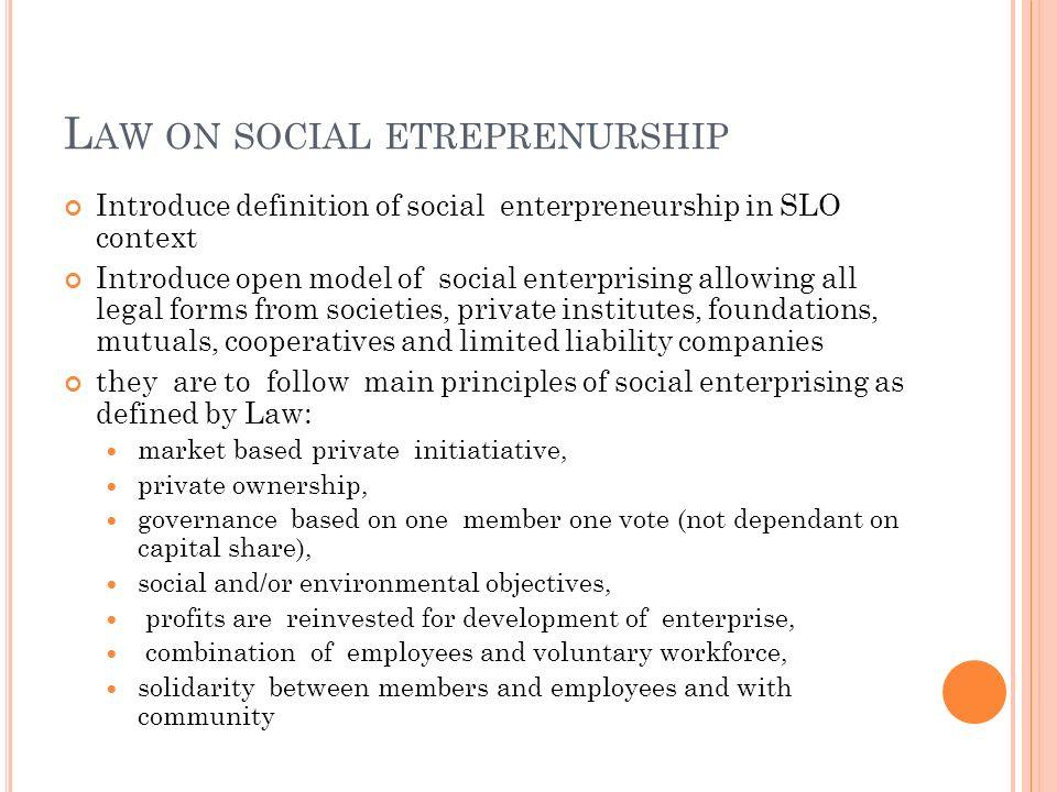 Law on social etreprenurship