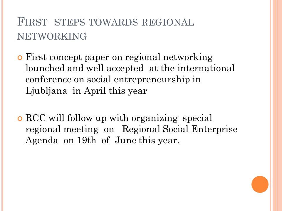 First steps towards regional networking
