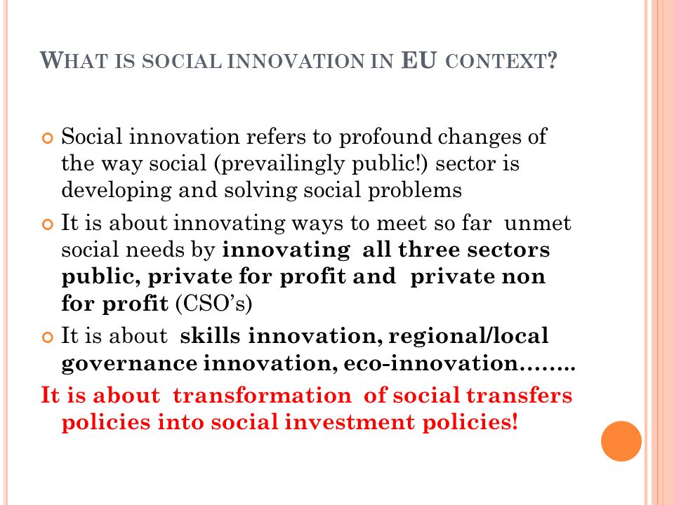 What is social innovation in EU context