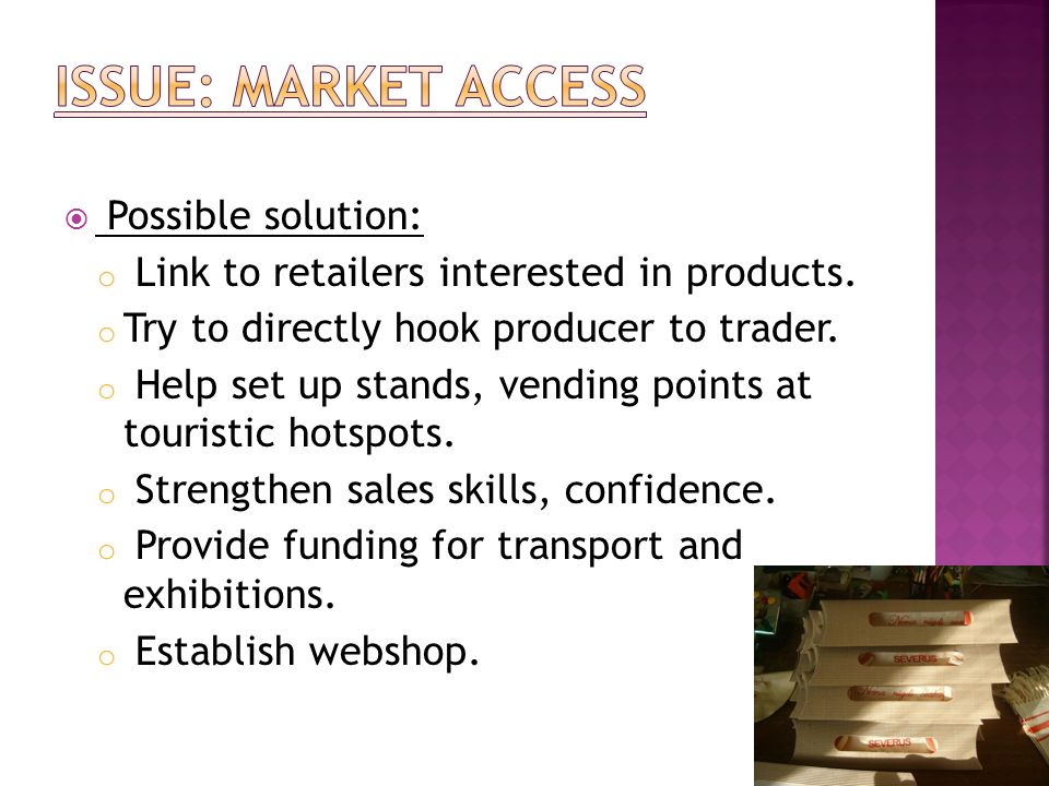 Issue: Market Access Possible solution: