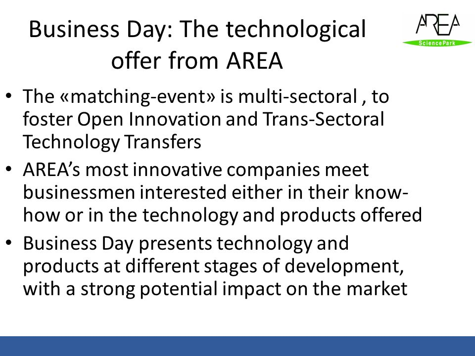 Business Day: The technological offer from AREA