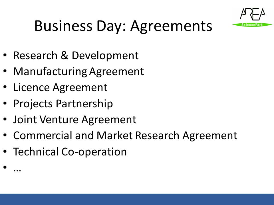Business Day: Agreements