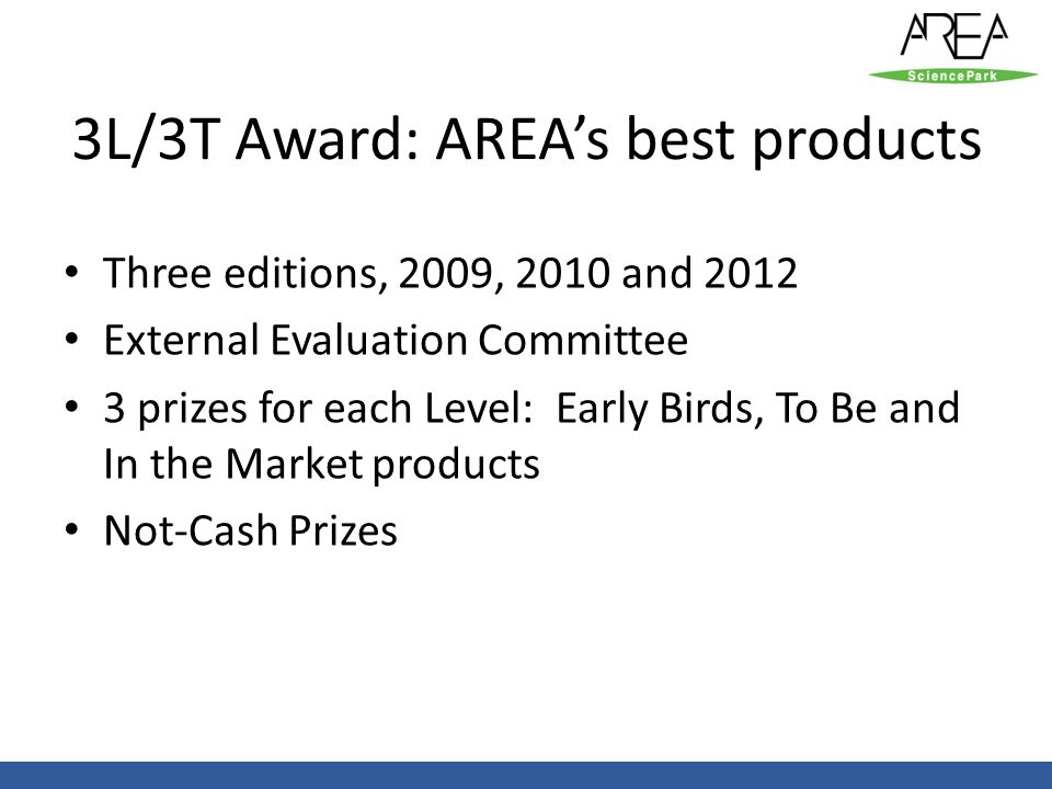 3L/3T Award: AREA's best products