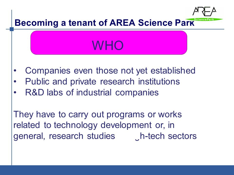 Becoming a tenant of AREA Science Park