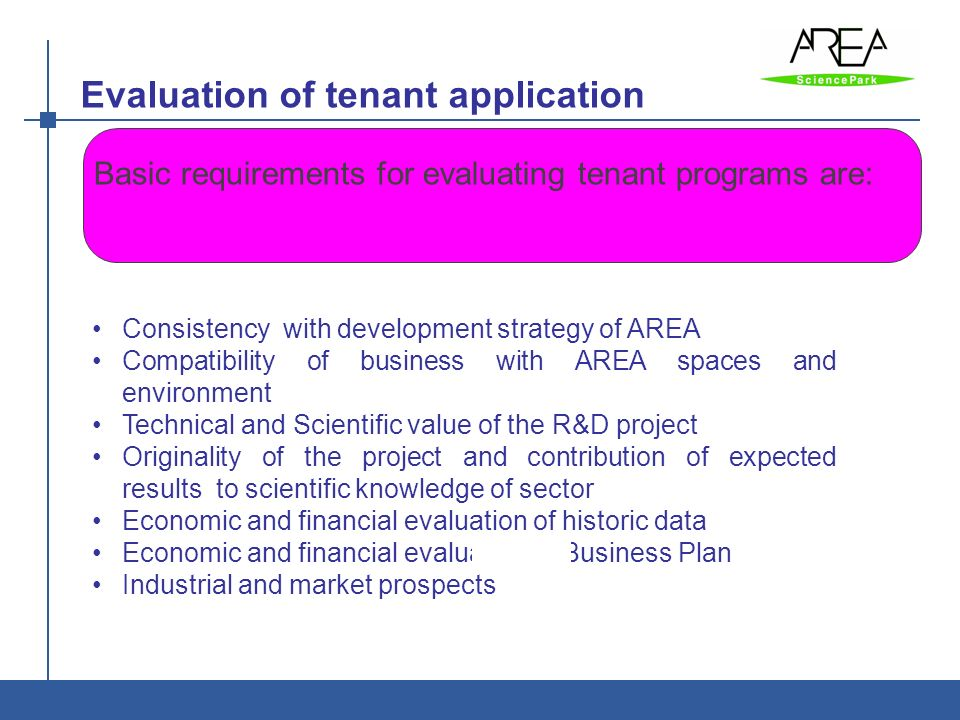 Evaluation of tenant application