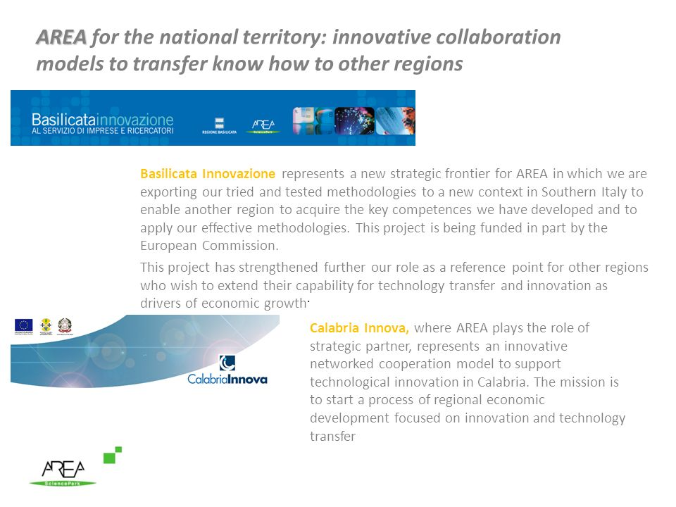 AREA for the national territory: innovative collaboration models to transfer know how to other regions