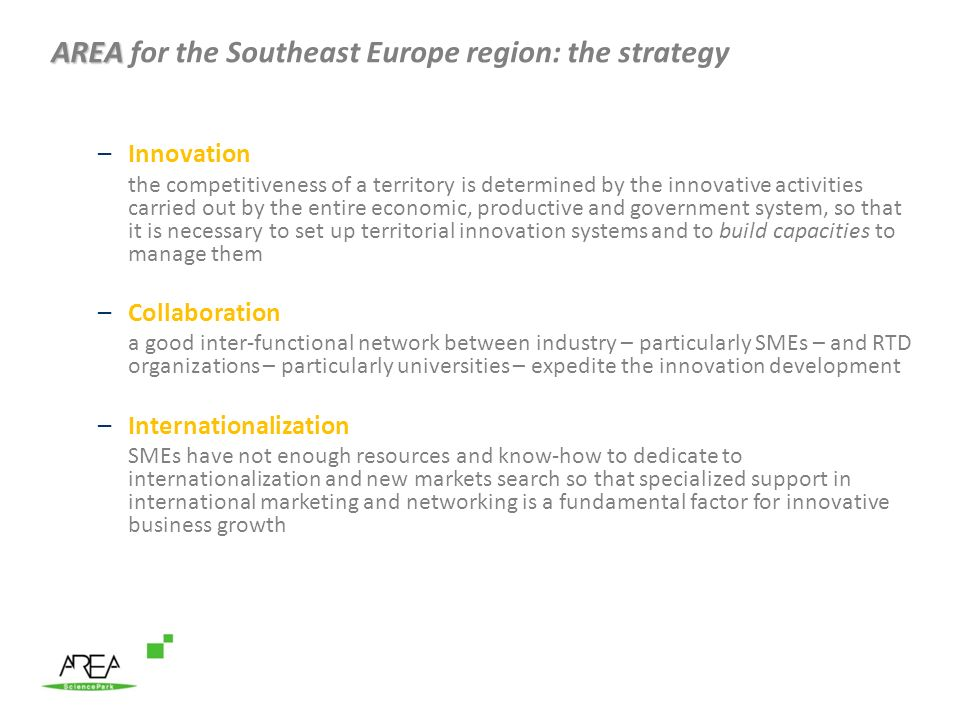 AREA for the Southeast Europe region: the strategy