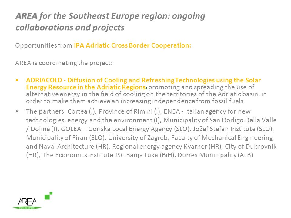AREA for the Southeast Europe region: ongoing collaborations and projects