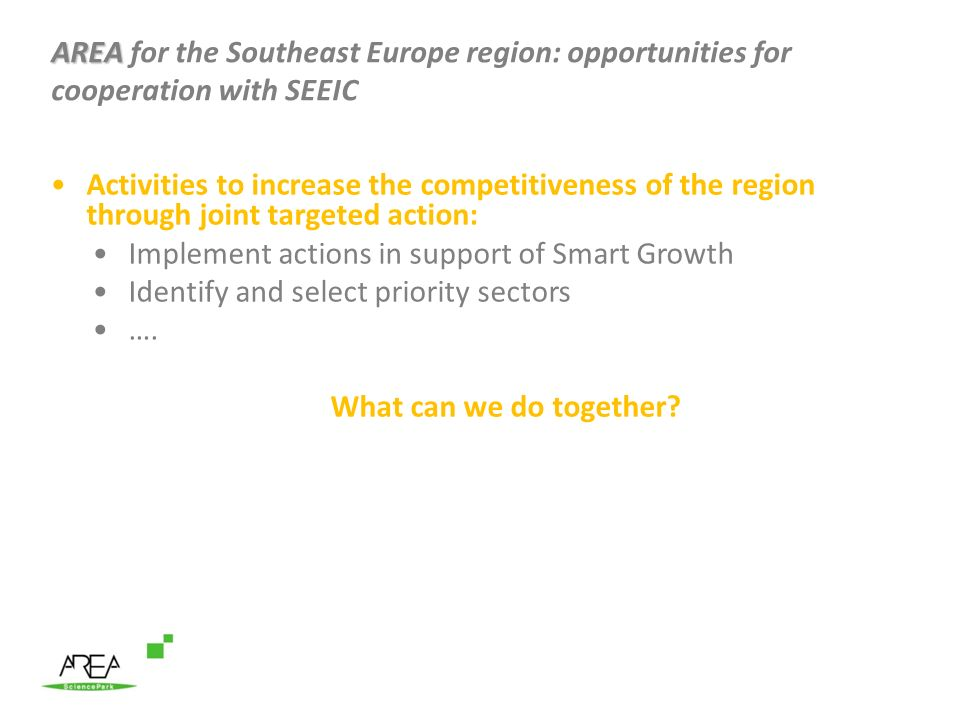 AREA for the Southeast Europe region: opportunities for cooperation with SEEIC