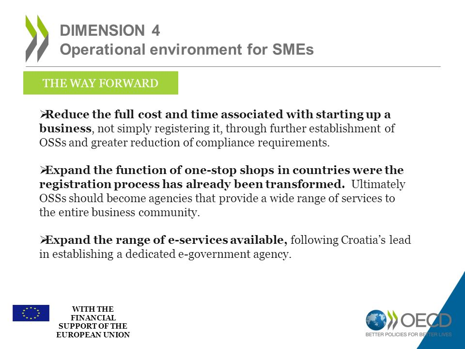 Dimension 4 Operational environment for SMEs