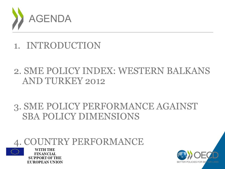 AGENDA INTRODUCTION. 2. SME POLICY INDEX: WESTERN BALKANS AND TURKEY SME POLICY PERFORMANCE AGAINST SBA POLICY DIMENSIONS.