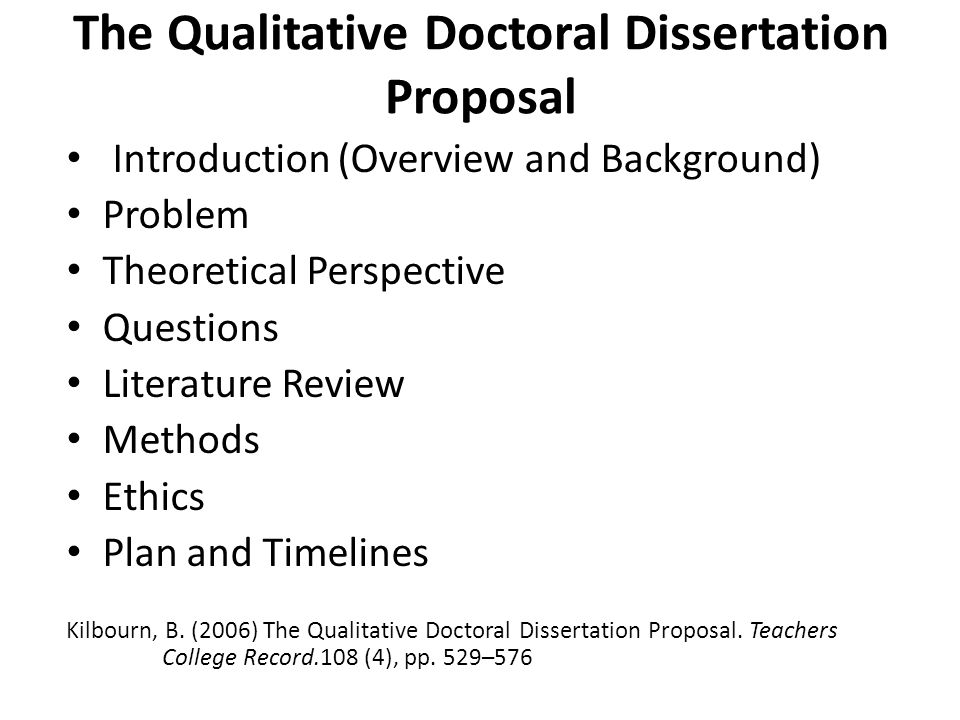 Sample Dissertation Proposals