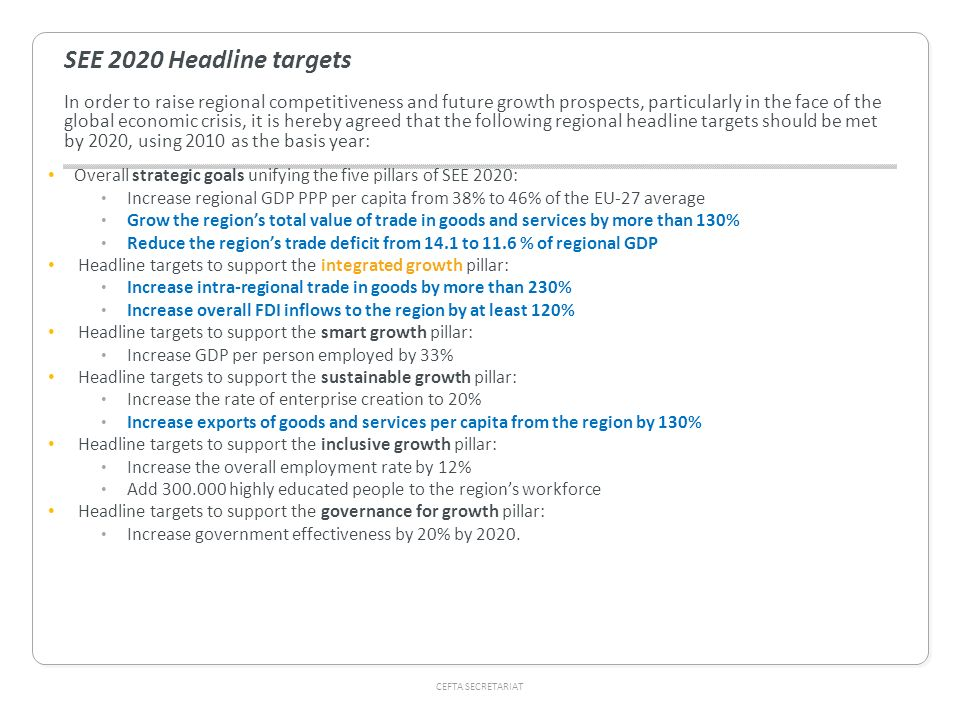 SEE 2020 Headline targets In order to raise regional competitiveness and future growth prospects, particularly in the face of the global economic crisis, it is hereby agreed that the following regional headline targets should be met by 2020, using 2010 as the basis year:
