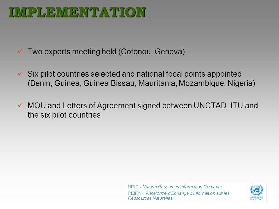 IMPLEMENTATION Two experts meeting held (Cotonou, Geneva)