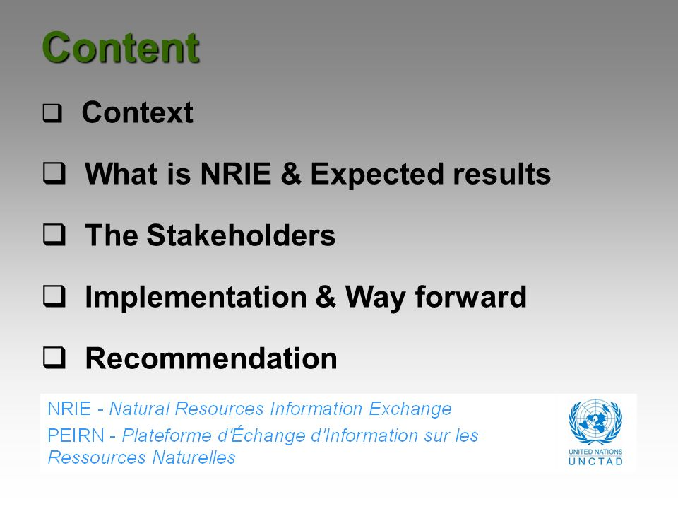 Content What is NRIE & Expected results The Stakeholders
