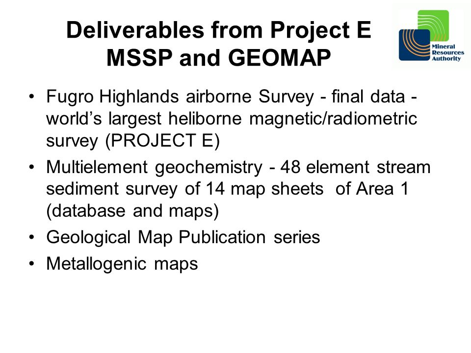 Deliverables from Project E MSSP and GEOMAP