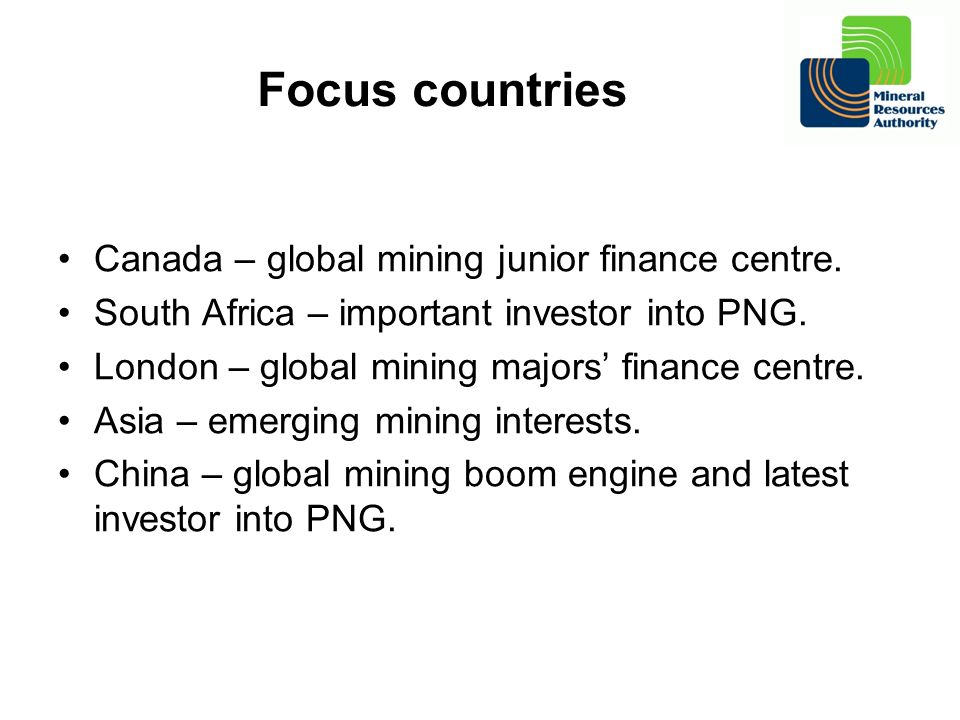 Focus countries Canada – global mining junior finance centre.