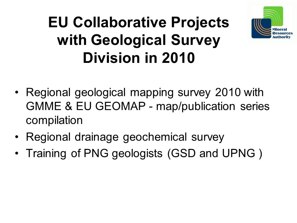EU Collaborative Projects with Geological Survey Division in 2010