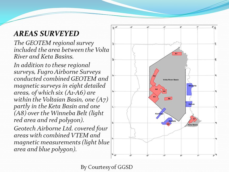 AREAS SURVEYED The GEOTEM regional survey included the area between the Volta River and Keta Basins.