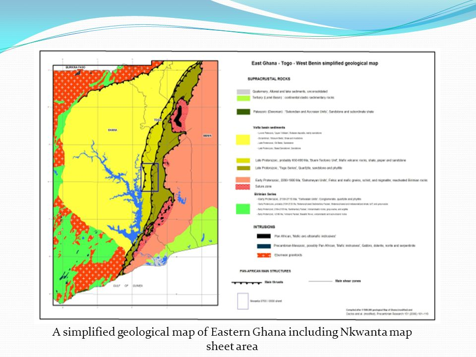 A simplified geological map of Eastern Ghana including Nkwanta map sheet area