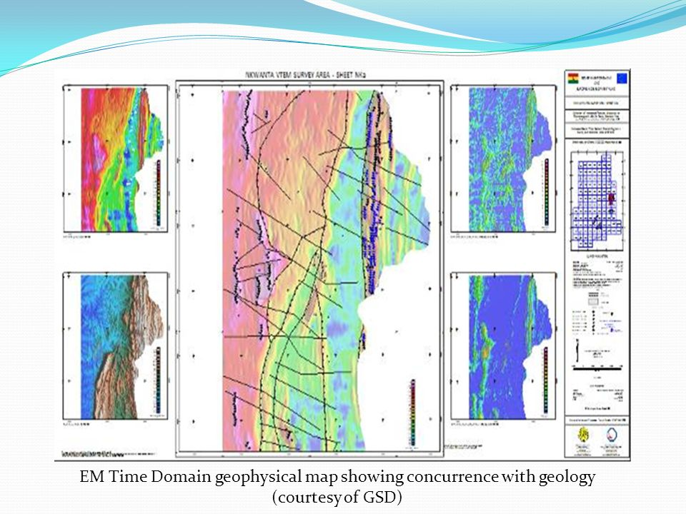 EM Time Domain geophysical map showing concurrence with geology (courtesy of GSD)