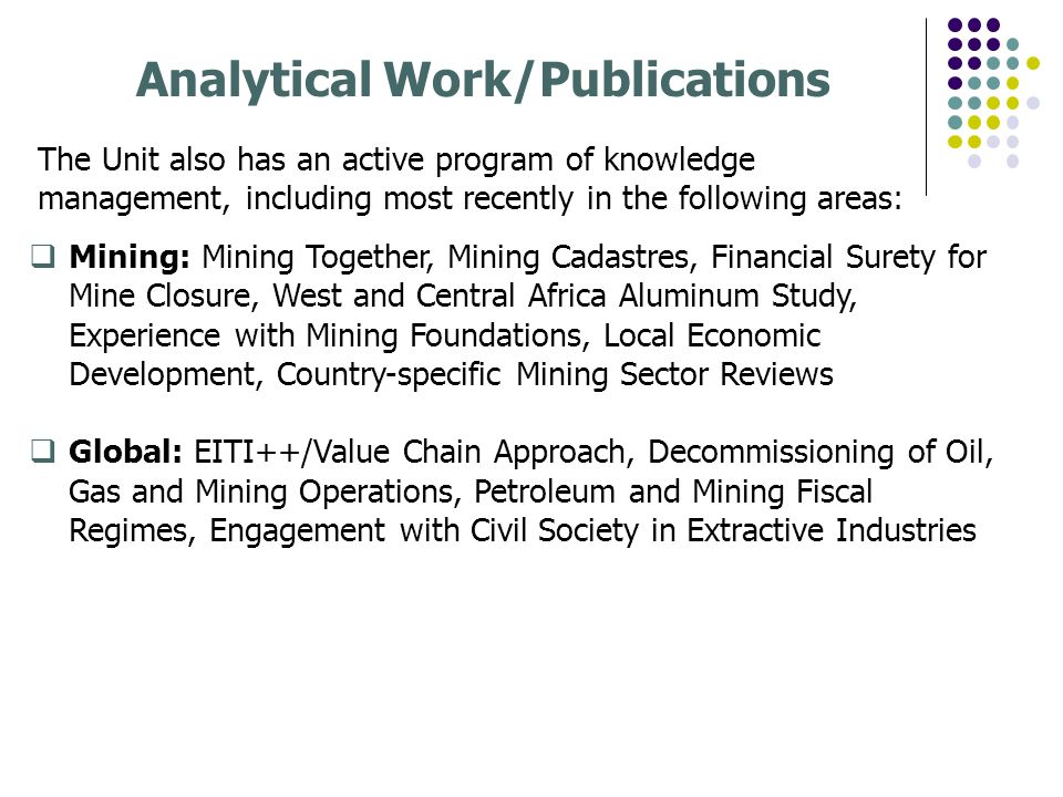 Analytical Work/Publications