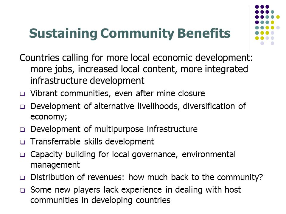 Sustaining Community Benefits