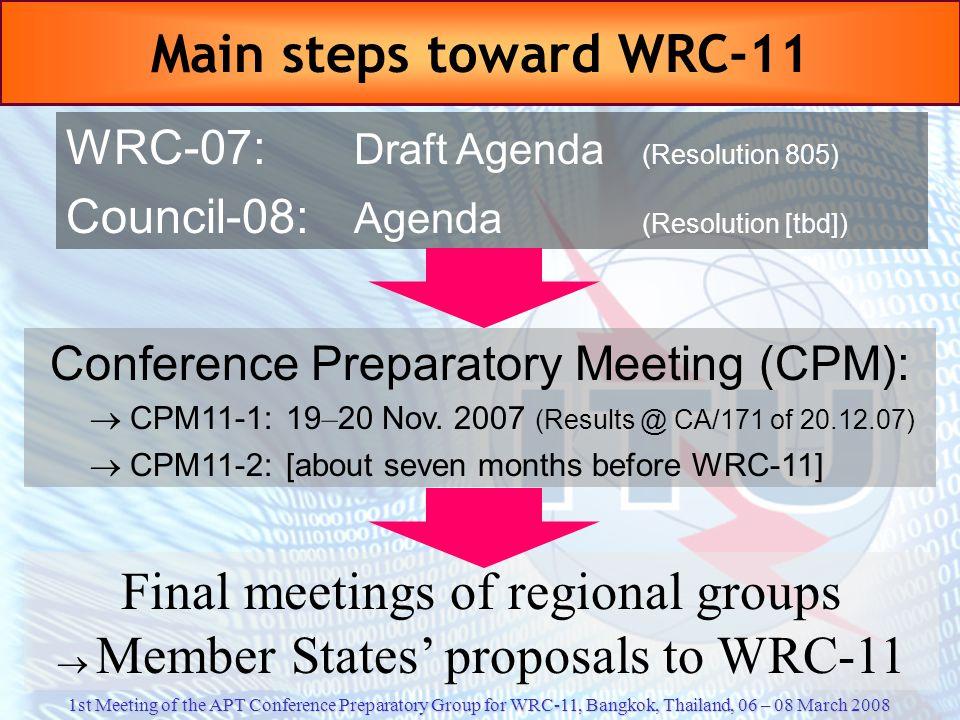 Final meetings of regional groups