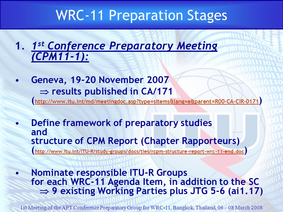 WRC-11 Preparation Stages
