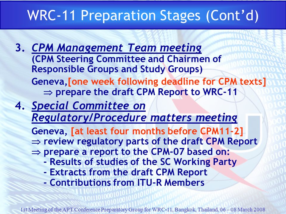 WRC-11 Preparation Stages (Cont'd)