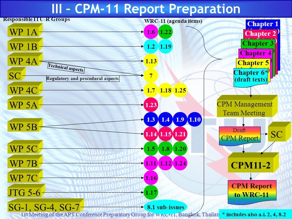 III – CPM-11 Report Preparation