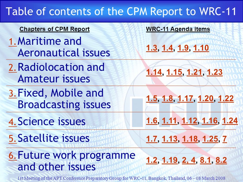 Table of contents of the CPM Report to WRC-11