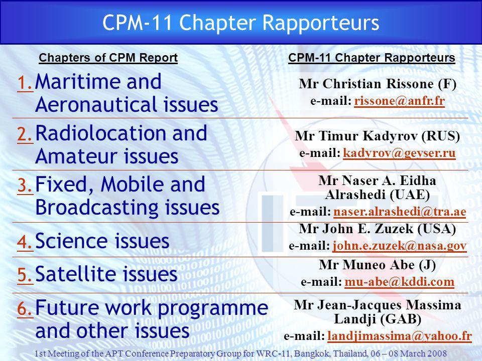 CPM-11 Chapter Rapporteurs