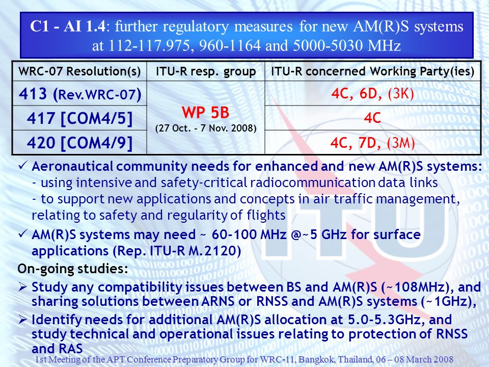 C1 - AI 1.4: further regulatory measures for new AM(R)S systems at 112-117.975, 960-1164 and 5000-5030 MHz