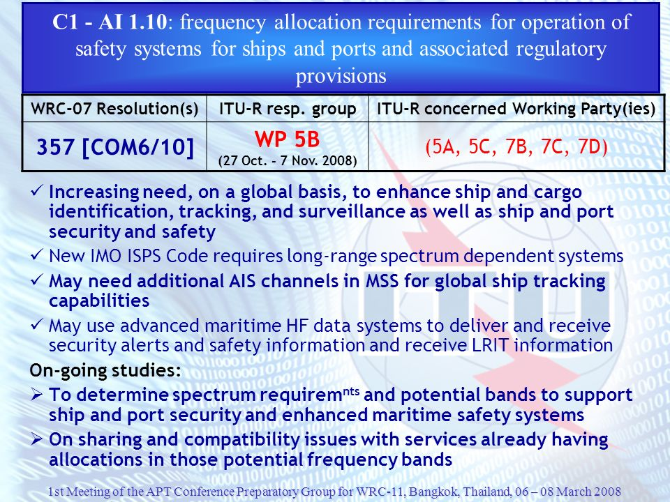 C1 - AI 1.10: frequency allocation requirements for operation of safety systems for ships and ports and associated regulatory provisions