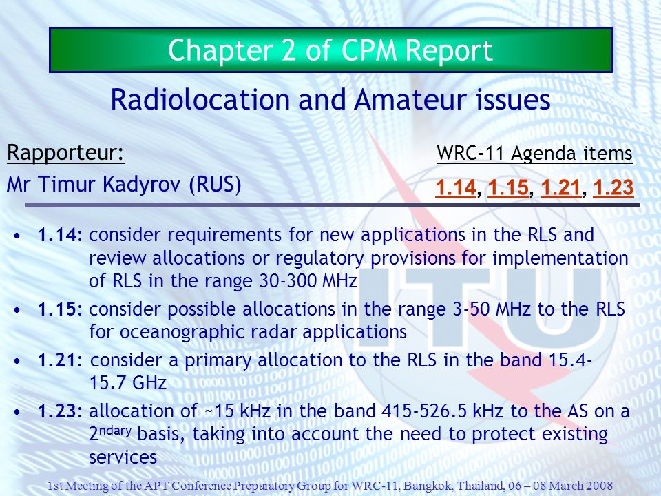 Radiolocation and Amateur issues